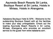 Ayurveda Beach Resorts Sri Lanka