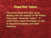 Road Not Taken Notes