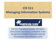 CIS 511 Assignment - Managing Information Systems