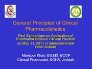 General Principles of Clinical Pharmacokinetics..