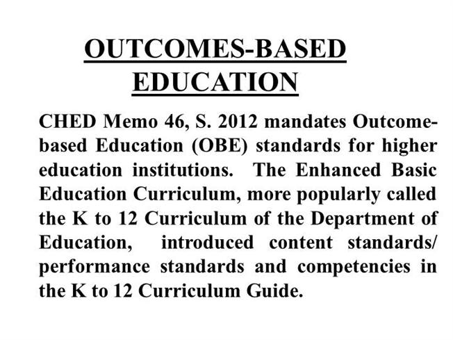 Outcomes Based Education Authorstream