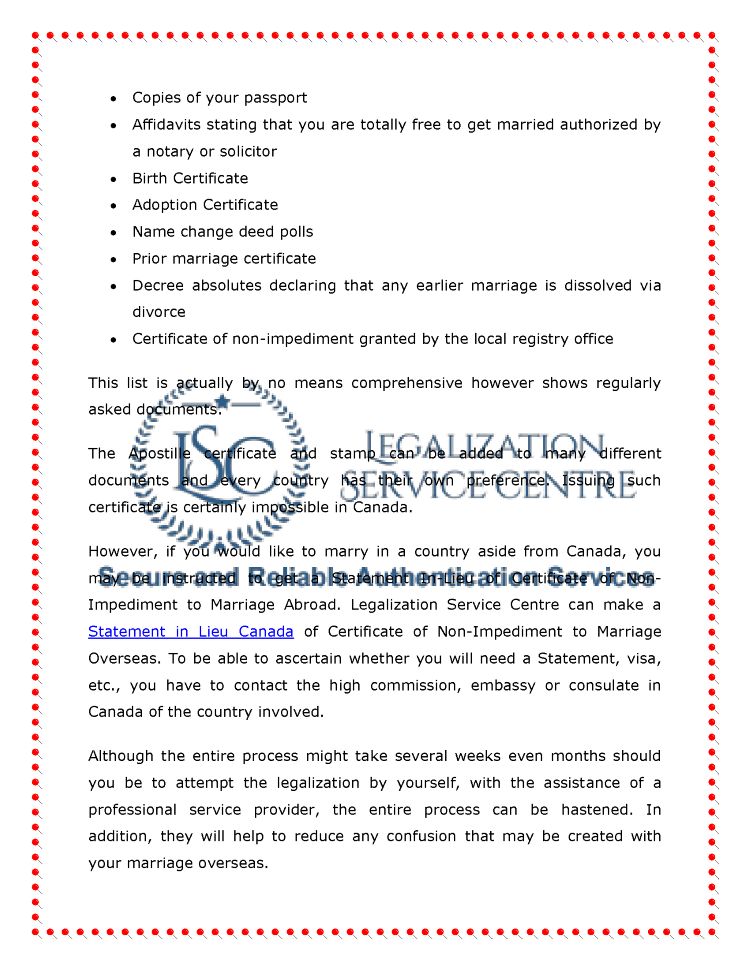 Marriage Certificate Authentication In Canada Authorstream