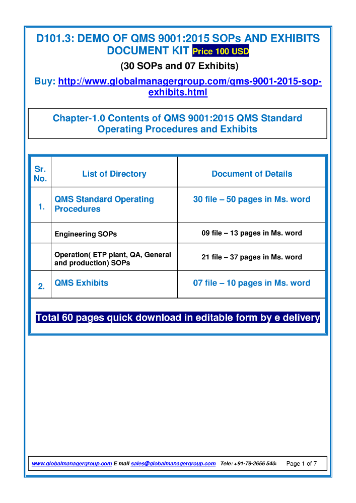 Exhibits And SOP for QMS 90012015 authorSTREAM – Sop Format in Word