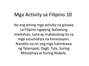 Mga Activity sa Filipino 10