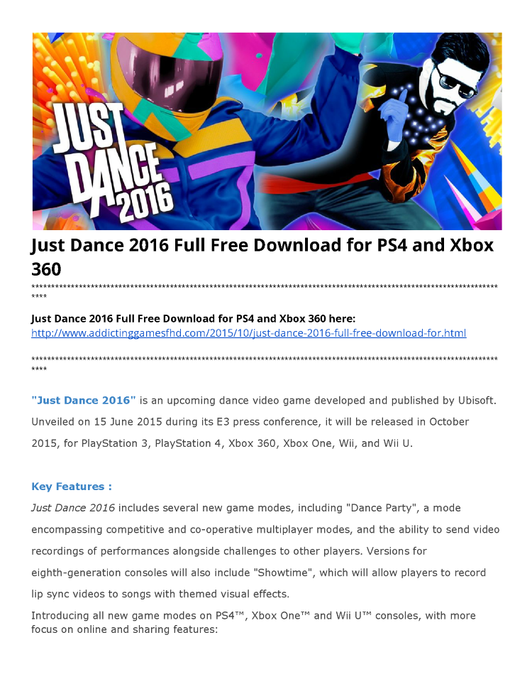 Just dance 2016 full free download for ps4 and xbox 360 authorstream toneelgroepblik Image collections