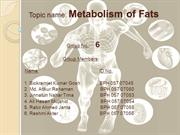 Metabolism of Fats
