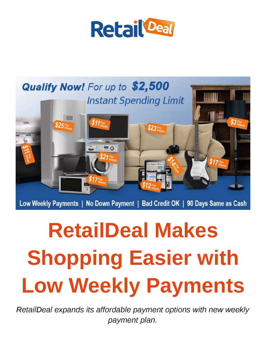retaildeal makes shopping easier with low weekly payments authorstream. Black Bedroom Furniture Sets. Home Design Ideas