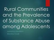 Rural Communities and the Prevalence of Substance Abuse
