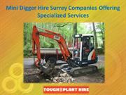 Mini Digger Hire Surrey Companies Offering Specialized Services