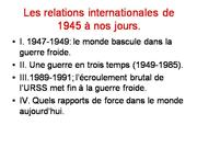 Les relations internationales de 1945 à