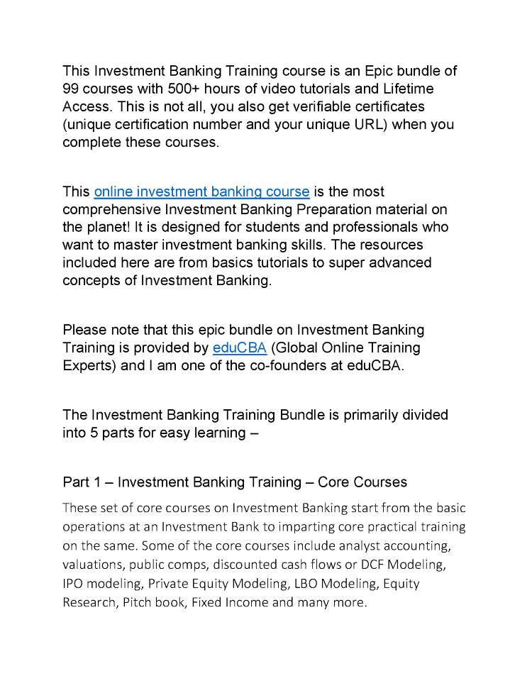 Investment Banking Training Course is an Epic Bundle of 991 ...