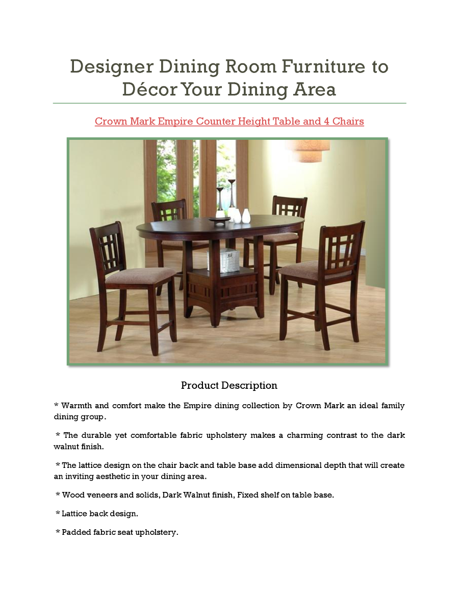 Designer dining room furniture to d cor your dining area for Dining area furniture