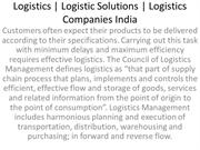 Logistics,Logistic Solutions,Logistics Companies India