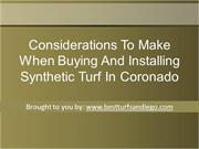 Considerations To Make When Buying And Installing Synthetic Turf In Co