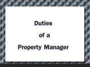 Duties of a Property Manager