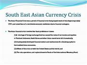What is south east Asian currency crisis