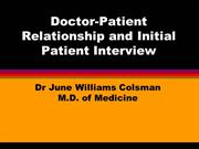 Drjunewilliamscolsma- Relationship b/w Doctor and Patient