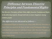 Difference between Directive Principles and Fundamental Rights