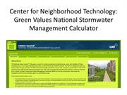 CNT: Green Values National Stormwater Calculator