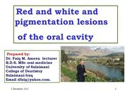 Red and White and Pigmentation lesions of the oral cavity