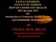 Intro to Community health Nursing and Community assessment