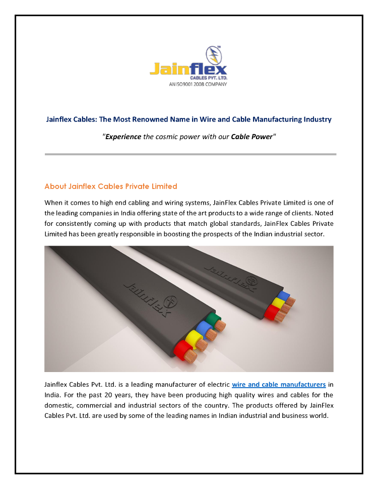 Jainflex Cables - Leading Manufacturer of Wires And Cables |authorSTREAM