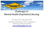 Challenges in mental health nursing
