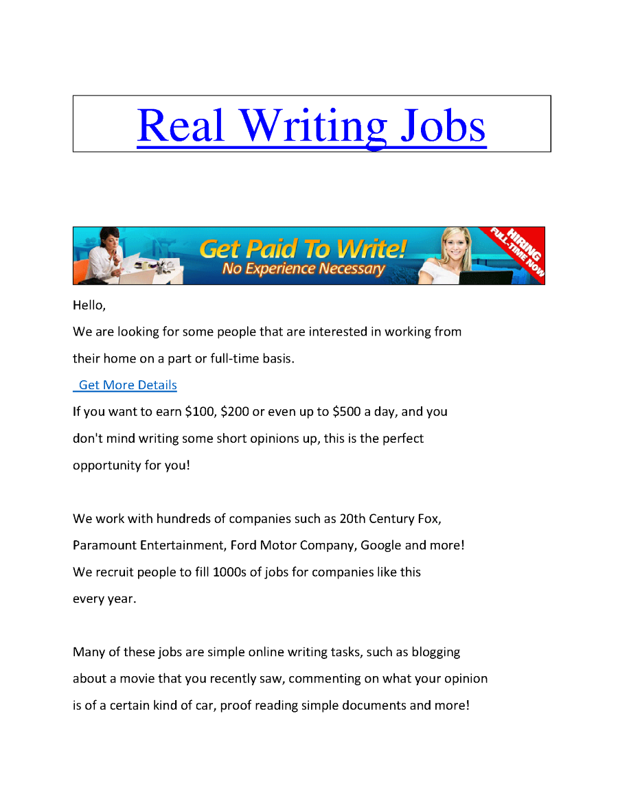 real online writing jobs