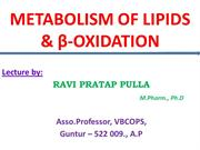 Metabolism of Lipds & β -Oxidation