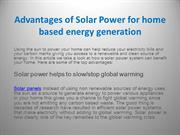 Advantages of Solar Power for home based energy