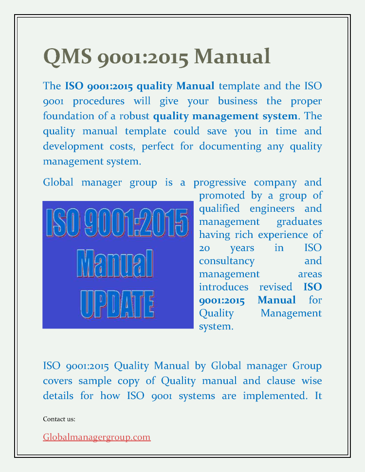 ISO 9001 Manual as Per 2015 |authorSTREAM
