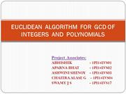 Eucledian Algorithm for GCD of Integers and Polynomials