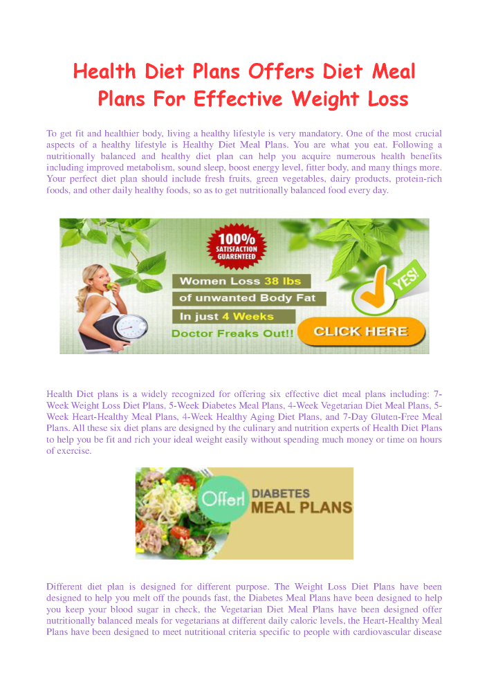 Health Diet Plans Offers Diet Meal Plans For Effective Weight Loss