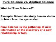 Pure Science Vs Applied Science