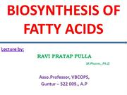 Biosynthesis of Fatty Acids