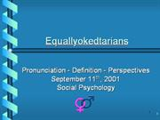 Equallyokedtarian - Definition - Social History - Perspectives