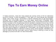 Tips To Earn Money Online