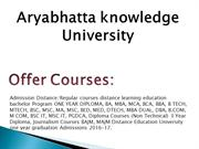 Aryabhatta knowledge University Distance Education