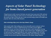 Aspects of Solar Panel Technology for home based power generation