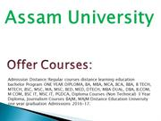 Assam University Distance Learning Education MBA in India