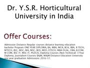 Dr. Y.S.R. Horticultural University Distance Education India