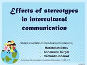 Effects of stereotypes in intercultural communication