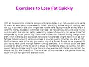 Exercises to Lose Fat Quickly