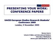 UACES European Studies Research Work