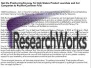 Nail the Positioning Strategy for High Stakes Product Launches