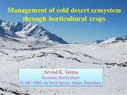 Management of cold desert ecosystem through horticultural crops