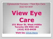 Eye Exam Toronto - View Eye Care (416) 923-8439