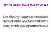 How to Really Make Money Online