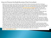 How to Choose the Right Business Plan Consultant