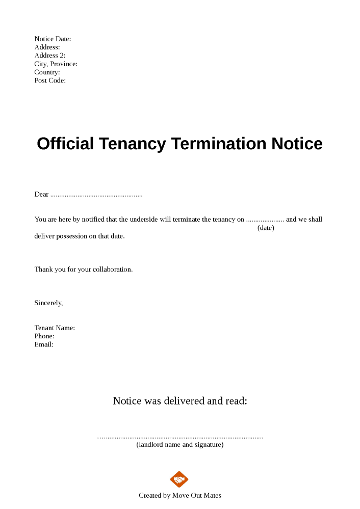 End of tenancy letter template from tenant to lanlord for Notice to end tenancy template